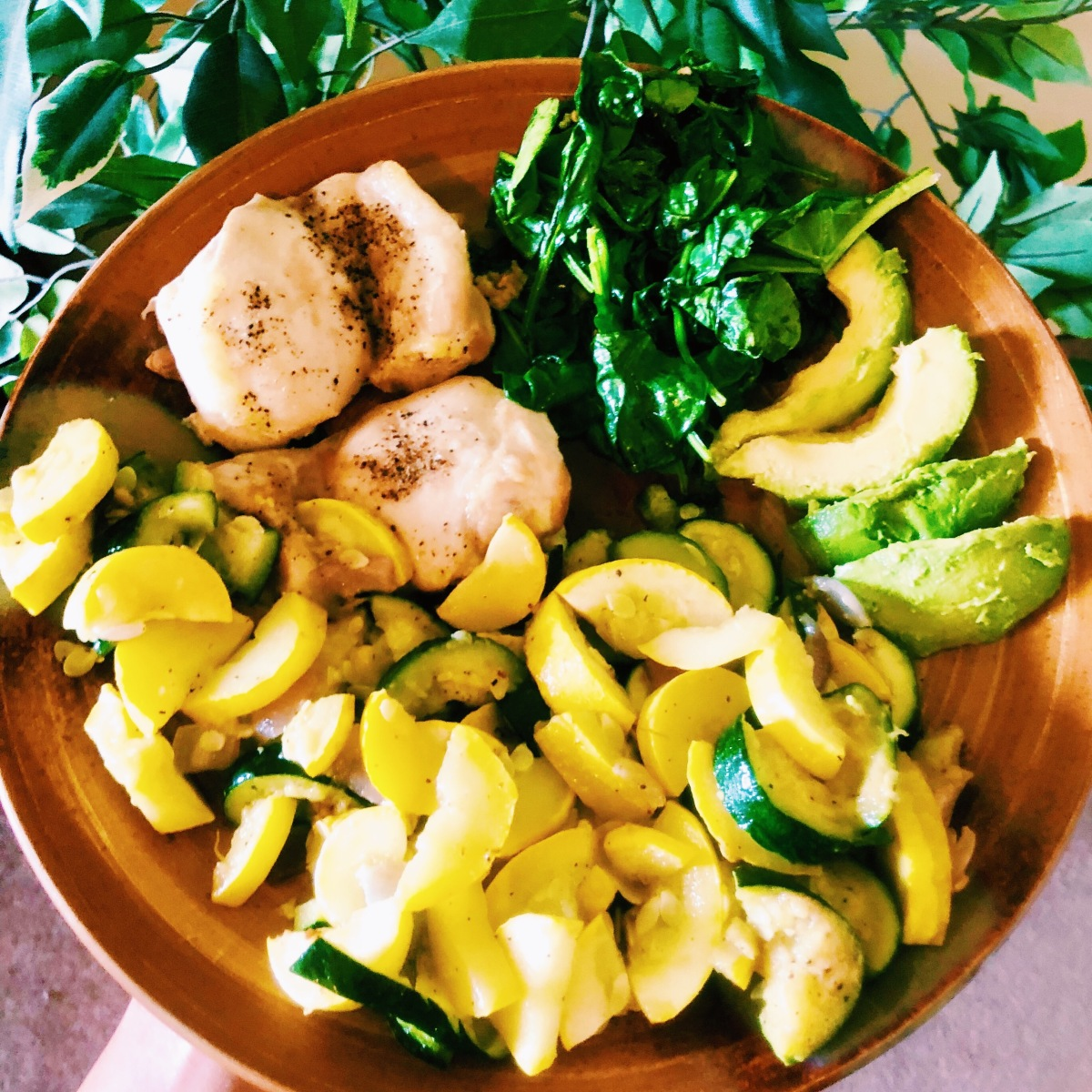 Chicken with Squash, Spinach, and Avocado