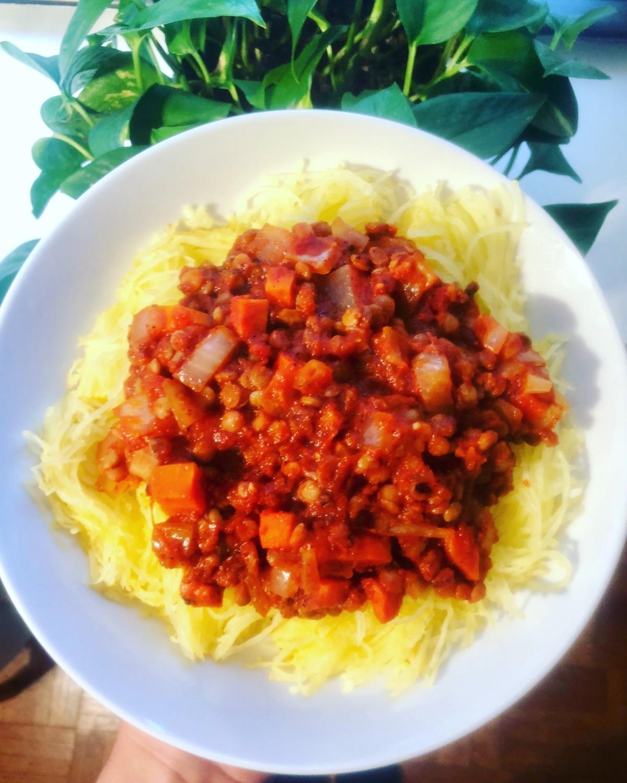 Lentil Bolognese with SpaghettiSquash