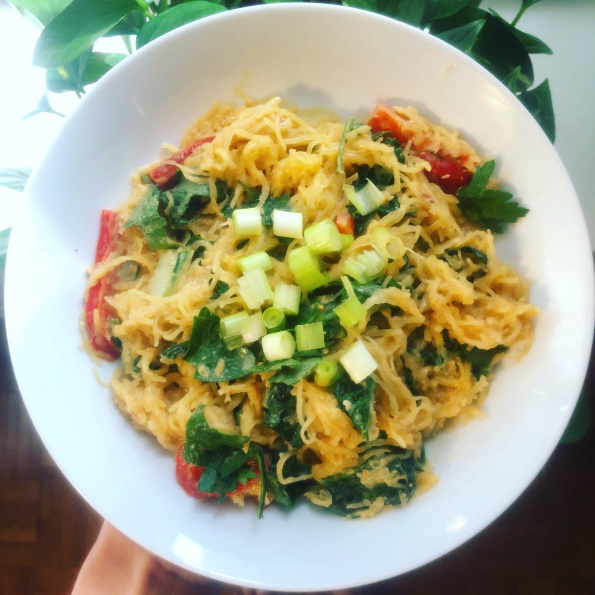 Thai- inspired peanut spaghettisquash